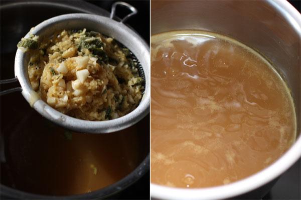 Оставшийся маринад процедите, доведите до кипения и варите на маленьком огне, пока объем жидкости не уменьшится вдвое. Затем добавьте кукурузную муку и помешивайте, пока соус не загустеет.