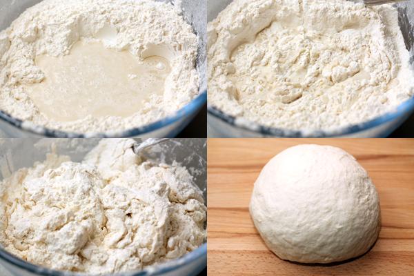 Для теста просейте муку в широкую миску, сделайте углубление в центре, добавьте соль и влейте воду (около 300 мл, в зависимости от муки). Замесите довольно крутое гладкое тесто. Месите его несколько минут, затем сделайте шар, накройте полотенцем и дайте отдохнуть 10-15 минут.
