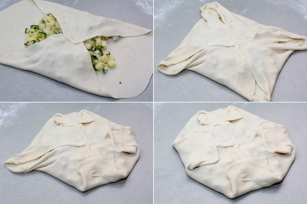Шарики теста раскатайте поочередно тонким слоем, в центр положите начинку (1-2 столовых ложки) и сверните, как показано на картинке. Чтобы тесто лучше склеивалось, можно слегка смочить его водой.