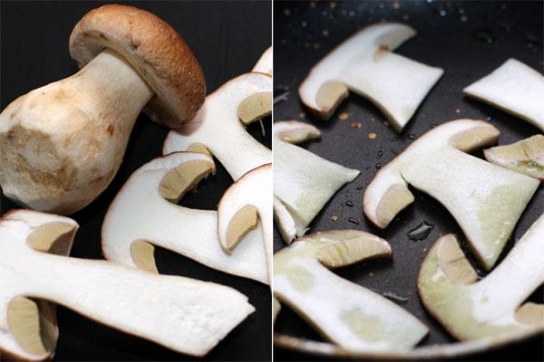 Пару грибов нарежьте тонкими пластинками вдоль. Средние части слегка обжарьте и оставьте для украшения гамбургеров.