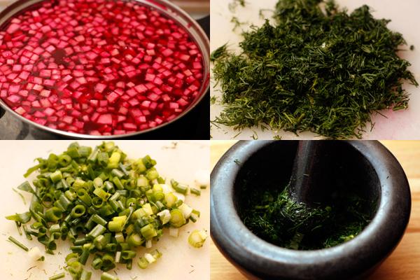 Зелень измельчите и разотрите в ступке вместе с солью. Добавьте в суп и дайте постоять полчаса в холодном месте.  Подавайте со сметаной и отдельно нарезанной зеленью.