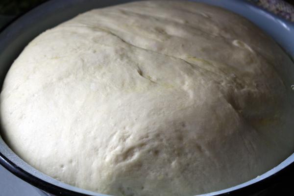 Миску смажьте маслом, положите в нее тесто, накройте пищевой пленкой и поставьте для подъема в теплое место. Через час оно должно увеличиться в объеме больше, чем в 2 раза.