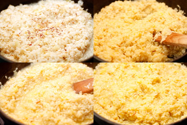 Посыпьте рис шафраном и подливайте очень горячий бульон по одному половнику. Помешивайте и каждый раз ждите, пока бульон впитается, прежде чем добавить новую порцию.
