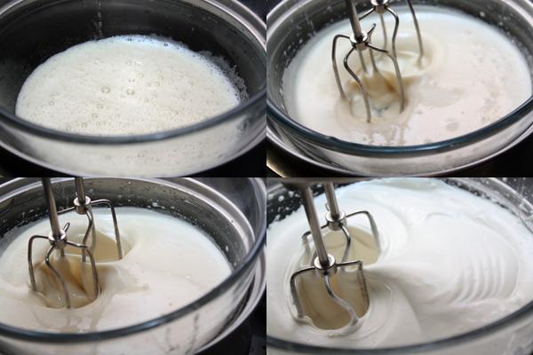 В яичные белки добавьте 3 столовые ложки воды и 150 г сахара, поставьте миску с белками над кастрюлей с медленно кипящей водой.  Взбивайте белки миксером сначала на низкой скорости (около 4 минут), затем на высокой (еще около 4 минут), а потом снимите с кастрюли и взбивайте еще 4 минуты, пока смесь не остынет.