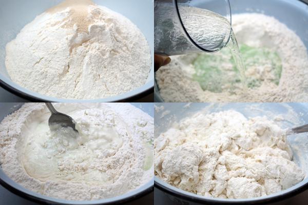 В большую широкую миску или прямо на стол просейте муку, добавьте соль и дрожжи и сделайте углубление в середине.  Влейте в углубление 300 мл воды, смешанной с маслом и перемешивайте, понемногу собирая муку с краев.