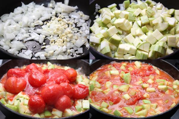 Пока тесто поднимается, делаем начинку. Пассеруем лук и мелко нарезанный чеснок на оливковом масле, добавляем кубики кабачка и томаты вместе с жидкостью.