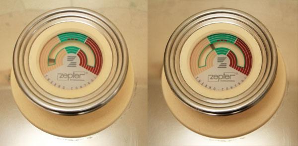 Когда стрелка термоконтроллера на крышке укажет на начало зелёного поля, снимите кастрюлю с огня.