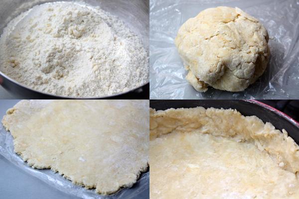 Холодное масло перетереть с мукой в мелкую крошку, добавить яйцо и немного рома, чтобы можно было замесить тесто.  Тесто охладить полчаса в холодильнике под пленкой, а затем раскатать слоем в 0,5 см и выложить им форму для выпечки.  Убрать тесто в холодильник.