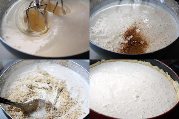 Для верхнего слоя нужно очень хорошо взбить яйца с сахаром, добавить корицу, ложку рома и орехи. Аккуратно размешать смесь и вылить ее в подготовленную основу.