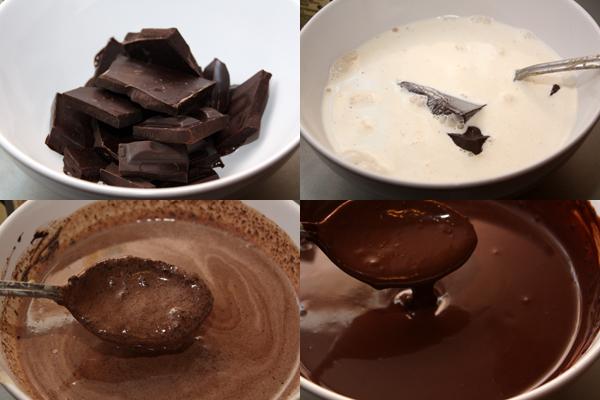 Шоколад наломать на кусочки и залить горячими сливками, добавляем немного рома, затем тщательно размешать до получения гладкой блестящей массы.
