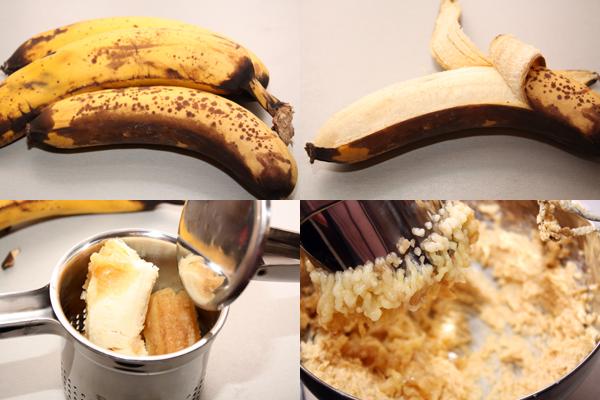 Мягкие бананы нужно превратить в пюре и добавить к взбитому маслу. Я это делала с помощью пресса для картофеля — очень удобно.