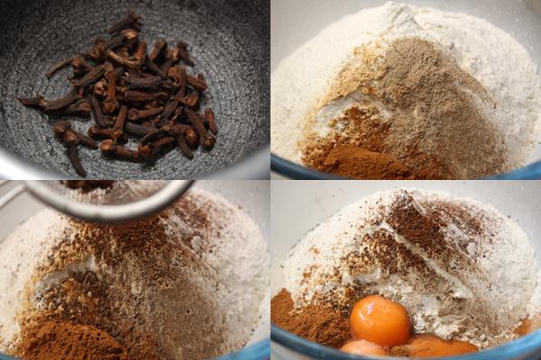 В миску просейте муку, добавьте пряности и желтки. Гвоздику нужно размолоть или растереть в ступке, а затем просеять сквозь сито.
