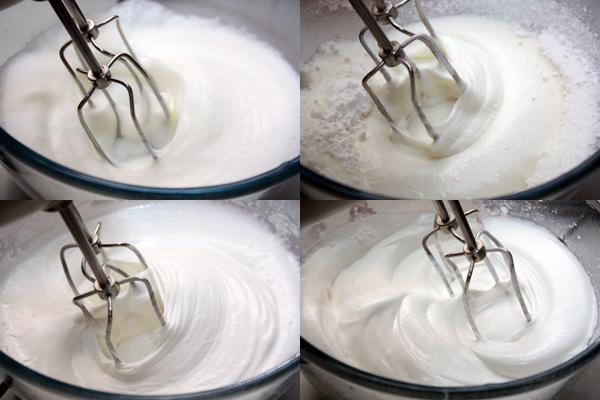 Затем постепенно добавляем сахарную пудру или мелкий сахарный песок, продолжая интенсивно взбивать.