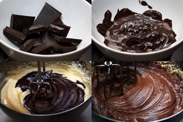 Шоколад разламываем на кусочки и растапливаем на водяной бане. Размягченный шоколад смешиваем с кремом, добавляем туда же ром и вбиваем.  Убираем в холодильник на полчасика, пока будут готовы безе.