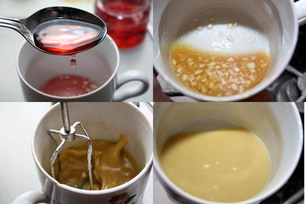 Готовим заправку: соединяем измельченный чеснок, оливковое масло, горчицу и винный уксус. Все взбиваем до состояния однородной эмульсии.