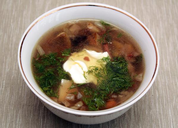 Подавать суп лучше всего с мелко нарезанным укропом и сметаной.