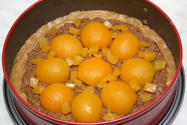 Выкладываем абрикосы любым узором. Добавляем немного мелко нарезанных абрикосов.<p>Разогреваем духовку до 180°С и загружаем туда наш пирог.