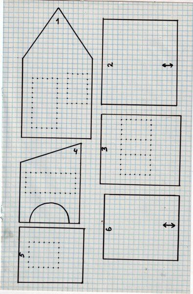 Итак, нам понадобится:<p>Картон, карандаш, линейка, ножницы. Вспомнив уроки геометрии и черчения спроектируем домик. Какой хотите, хоть трехэтажный. Детали аккуратно вырезать. Добавлю лекала по просьбам читателей.<p>1. фронтальная часть - 2шт.<p>2. крыша большого дома - 2шт. (стрелками указано направление сверху вниз)<p>3. боковые стены большого дома - 2шт.<p>4. фронтальная стена пристройки - 2шт.<p>5. боковая стена пристройки - 1шт.<p>6. крыша пристройки - 1шт.<p>Масштаб: 1 клеточка - 1 см.<p>Примечание: пока тесто горячее оно очень хорошо режется, можно воспользоваться этим, чтобы подогнать все детали идеально. Одну сторону большой крыши надо будет немного вырезать, чтобы