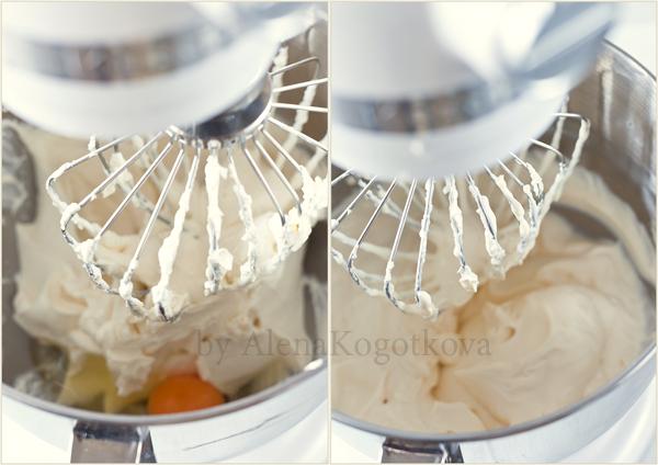 Добавить яйца по одному, взбивая каждый раз (20-30 секунд). Затем влить сливки, взбивать до однородной, гладкой массы (1-2 минуты). Не перевзбить!