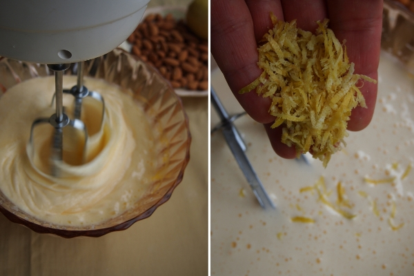4 яйца взбить с сахаром в пышную массу.  Натереть на мелкой терке цедру лимона.  Добавить цедру лимона, щепотку корицы и сок половины лимона.