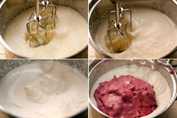 Охлажденные сливки хорошо взбейте до густой плотной пены, добавьте ягодное пюре.