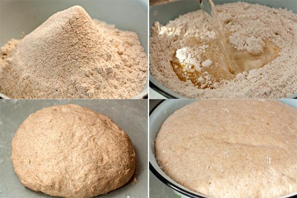 Муку просейте в широкую миску с солью и дрожжами. Теплую воду (170-180) смешайте с маслом и влейте в муку. Замесите тесто и месите его 5-7 минут, пока оно не приобретет эластичность и не будет отлипать от рук и рабочей поверхности.  Накройте тесто чистым полотенцем и поставьте его в теплое место для подъема. Примерно через час оно должно увеличиться вдвое.
