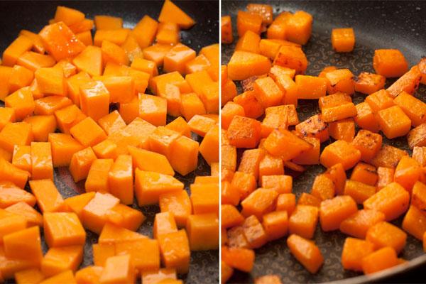 Пока тесто подходит, подготовьте начинку. Тыкву очистите, нарежьте небольшими кубиками и обжарьте до мягкости в небольшом количестве масла.