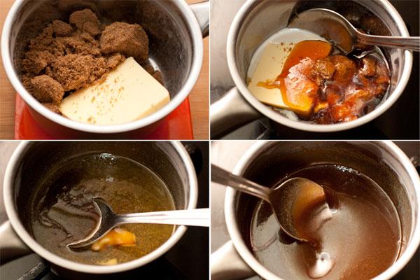 В маленький сотейник насыпьте коричневый сахар, положите масло и мед, влейте 2 ст.л. молока.  Нагревайте, помешивая, на небольшом огне, пока все не смешается и не получится однородный сироп. Остудите до комнатной температуры или чуть теплее.