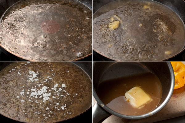 В сковороду, где жарилась утка, налейте вино и апельсиновый сок (лучше свежевыжатый), упарьте вдвое. Если хотите получить более густой соус, положите пол чайной ложки кукурузной муки, перемешайте, доведите до кипения, чтобы соус загустел. Затем добавьте чайную ложку темно-коричневого сахара, соль и перец по вкусу, выключите огонь и в конце положите в соус кусочек сливочного масла и хорошо перемешайте.