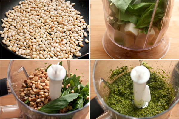 Для приготовления соуса песто слегка обжарьте кедровые орешки на сухой сковороде. Сыр порежьте кубиками, очистите чеснок, а базилик вымойте холодной водой и высушите.  Поместите все в блендер и измельчите до однородности, подливая оливковое масло.