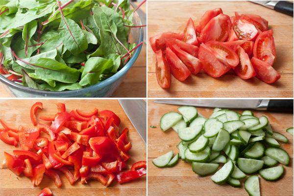 Овощи и салатные листья вымойте, обсушите и нарежьте достаточно крупно. Не забудьте удалить семена у перца.
