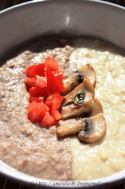 Смешать два разных супа-пюре: одновременно, двумя половниками, влить тонкой струйкой супы в супницу или обеденную тарелку.     Сервировать жаренными шампиньонами или сальсой из томатов, перца чили и красного лука