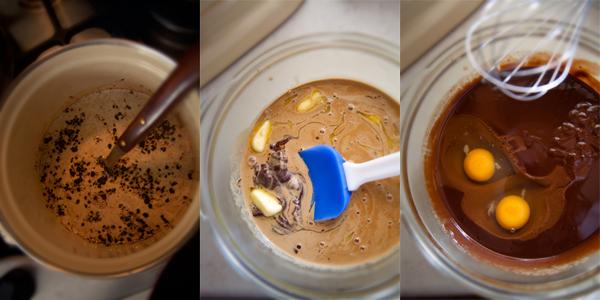 Пока тесто охлаждается, приготовьте шоколадно-кофейный крем. Вскипятите сливки и добавьте кофе. Оставьте сливки на огне еще на 10 минут. Тем временем поломайте шоколад и нарежьте кусочками масло. Процедите сливки в шоколад и хорошо перемешайте. Добавьте в массу 2 яйца и слегка взбейте венчиком. Ваш крем почти готов. Поместите его в холодильник на пару часов.   Нужно отметить, что крем универсален, и Вы сможете использовать его как самостоятельный десерт, а так же сочетать с различными видами выпечки.