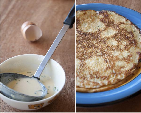 Приготовить блинчики. Смешать яйца с мукой. Добавить молоко, шнитт-лук и соль.  Нагреть блинную сковороду диаметром 20-23 см. Выпекать блины как обычно. (Пропорции теста рассчитаны на 3 блина, на случай если первый блин - комом). Блины должны остыть.  Положить блин на несколько слоев прозрачной пищевой пленки, на него - ветчину, грибы и вырезку. Завернуть в блин, отрезать лишнее, завернуть в пленку и оставить в холодильнике на час.