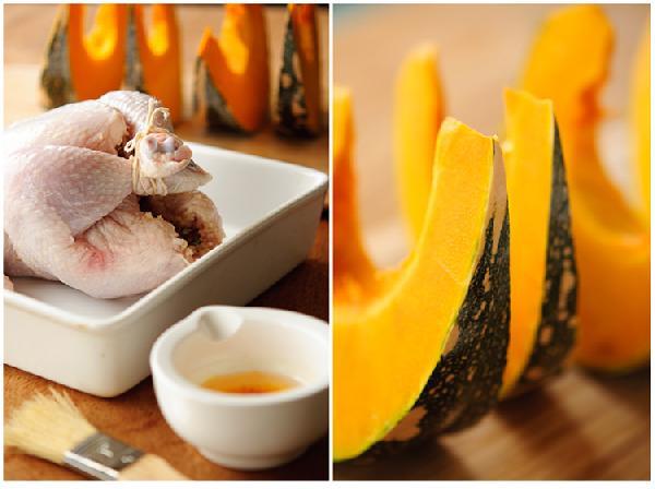 Вторую половину масла с шафраном нанести кисточкой на грудь и ноги курицы, нарезать тыкву.