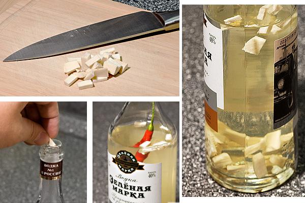 Отрежьте небольшой кусочек корня, приблизительно 2 см при диаметре 1 см. Корень должен быть обязательно свежим, не засохшим. Нарежьте его кубиками, размерами по 3-5 мм. Количество можно вариировать, но я обычно кладу столько, чтобы хрен закрыл дно бутылки ровным слоем. Теперь аккуратно засыпьте его в бутылку и взболтайте её. Для любителей острого — положите острый перчик.