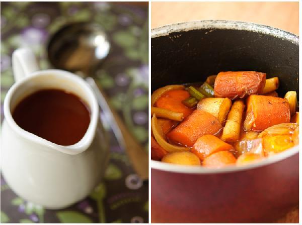 Мясо вынуть и оставить отдыхать под фольгой на 15-20 минут.  В форму для запекания с овощами влить бульон, довести до кипения на плите, уменьшить огонь, уварить бульон на треть. Жидкость процедить, добавить соль и свежемолотый перец. Перелить в соусник.