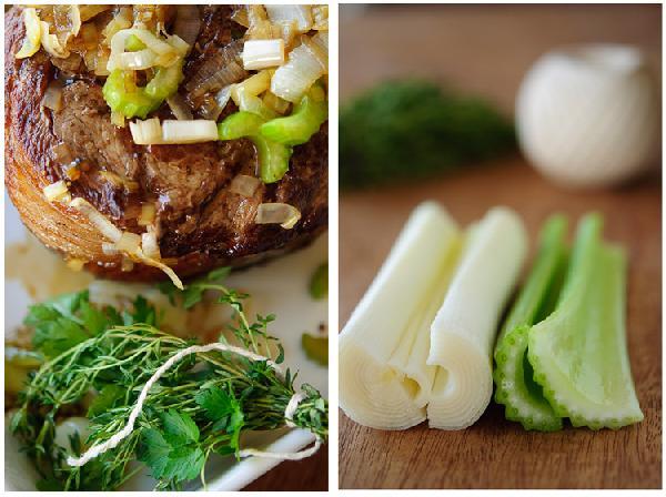 Переложить рулет в форму для запекания, уменьшить нагрев сковороды до среднего, добавить столовую ложку масла, порей, чеснок, сельдерей и готовить в течение 5-7 минут, периодически перемешивая, или до тех пор, когда овощи станут мягкими.