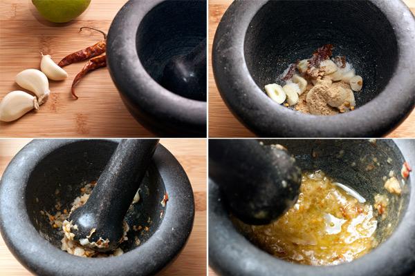 Чеснок очистите, мелко нарежьте, добавьте пряности, соль и хорошо разотрите в ступке по получения пастообразной консистенции.  Подлейте растительное масло и размешайте, чтобы получился маринад.