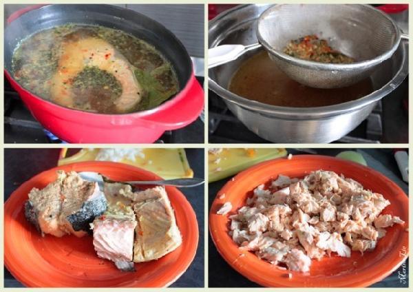 *Рыбу варим со специями (соль, перец, лавровый лист, + что любите)  *Процеживаем бульон  * Рыбу достаём и отделяем от косточек