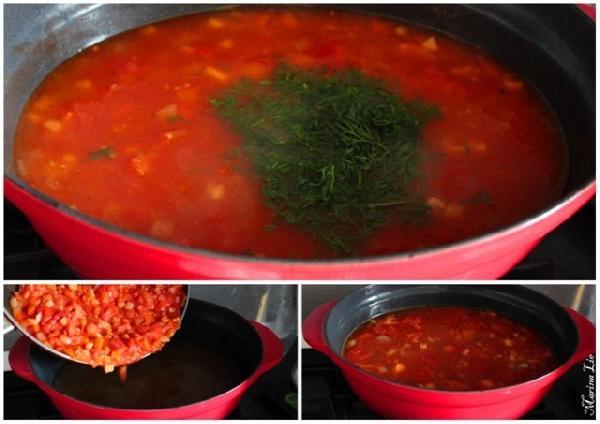 * Сгружаем овощную смесь в бульон. Даём покипеть чтобы овощи стали мягкими.  * Добавляем зелень