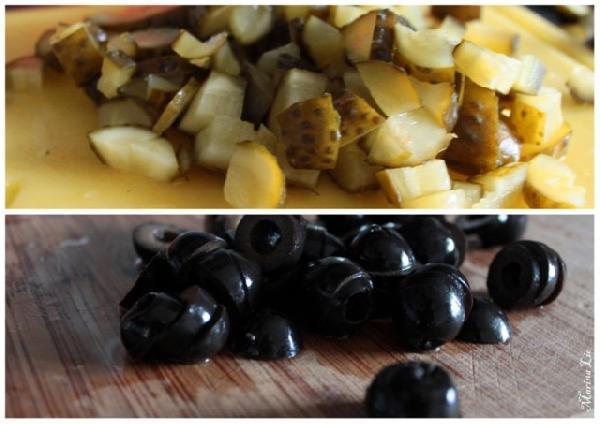 * Режем огурцы и маслины