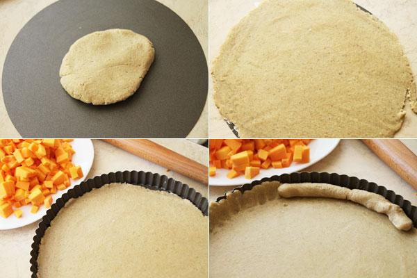 Ну вот, пока резали и очищали, тесто достаточно остыло. Берем форму для пирога со съемными бортиками. Тесто делим на две неравные части. Большую раскатываем по дну формы, надеваем бортик. Меньший кусочек делим ещё на четыре части, из каждой скатываем колбаску и укладываем по бортику. Аккуратно прижимаем. Так постепенно у нас получится бортик одинаковой толщины.