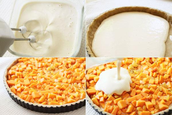 Настало время готовить заливку. 2 яйца плюс оставшийся от теста белок взбейте миксером постепенно увеличивая скорость. Затем аккуратно всыпьте сахар и продолжайте взбивать пока пена не станет достаточно устойчивой, а сахар полностью не растворится. На это уйдет минут 3-5 упорного взбивания. Добавьте творог и ещё раз хорошо разотрите.  <br><br>  Чтобы заливка равномерно распределилась на пироге, я разделила её на две части. В форму с тестом выливаем половину яичной смеси, сверху распределяем начинку и снова заливаем.