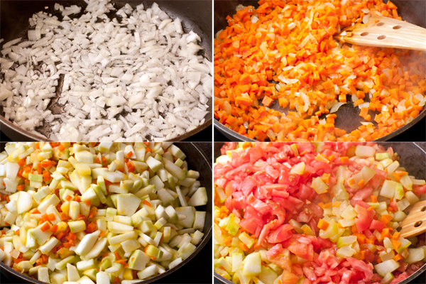 Мелко нарезанный лук обжарьте до прозрачности на растительном масле, затем в ту же сковороду положите морковь и готовьте на небольшом огне 5-7 минут, пока она не станет мягкой. Теперь положите кабачки и тушите, периодически помешивая, 10 минут, затем добавьте помидоры и посолите.