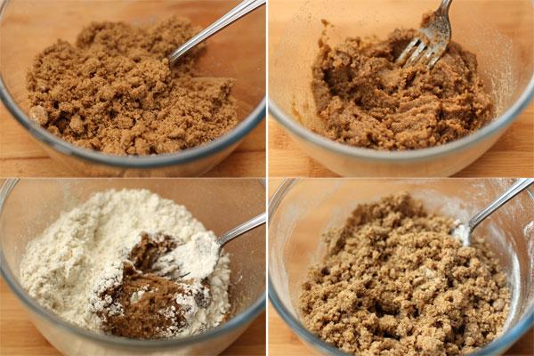 Сахар соедините с маслом и мешайте до получения пастообразной консистенции. Добавьте муку и смешивайте вилкой до образования однородной крошки.