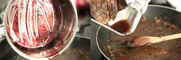 Уменьшаем огонь до среднего и добавляем в сковороду выпаренную винную жидкость и (если вы накрывали стейки фольгой) собранный сок.