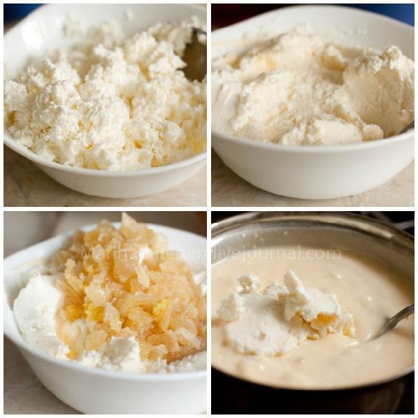 Творог (у меня 6%) протрите через сито. Порежьте цукаты.   Масло разотрите и добавьте к творогу. Сюда же цукаты и цедру. Размешайте.  Сливки подогрейте.   Смешайте желток с сахаром и ванилью (ванильный сахар/ванилин/ванильная эссенция).  Добавьте яичную смесь в сливки, все вместе нагрейте, постоянно помешивая (не доводите до кипения).   Творожную смесь добавьте в яично-сливочную, хорошо перемешайте.