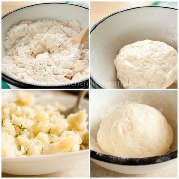 Замесите тесто, добавив растительное масло. Сформируйте шар, смажьте его и миску маслом.  Накройте салфеткой и оставьте подходить на час.  А сами займитесь начинкой. Картофель (2-3 шт) отварите, растолките. Смешайте с солью, перцем, мускатным орехом. Укроп (небольшой пучок) порежьте и добавьте к картофелю. Не забудьте отправить туда же лук. Перемешайте.  Обомните подошедшее тесто.