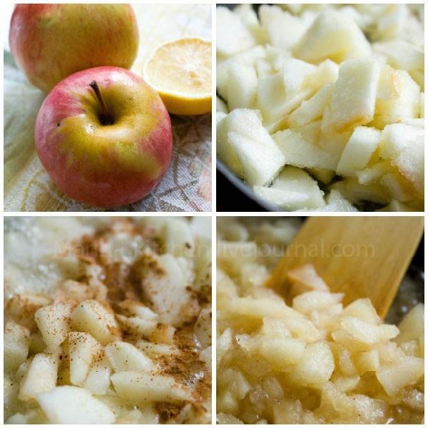 Начнем с соуса. Почистите яблоки, удалите сердцевину, нарежьте.  В сотейнике растопите сливочное масло, всыпьте ломтики яблок. Добавьте сахар, воду, лимонный сок. Помешивая, держите на небольшом огне. Через пару минут добавьте специи и алкоголь, если хотите. Продолжая помешивать, дождитесь, когда яблоки станут мягкими, а жидкость немного выпарится.